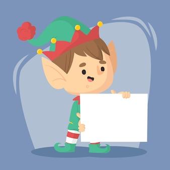 Weihnachtself, der leere fahnenschablone hält