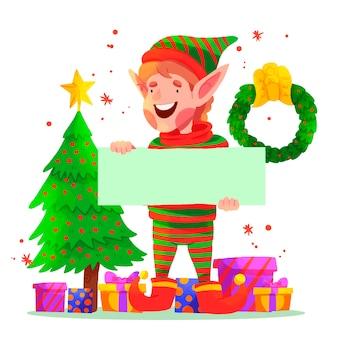 Weihnachtself, der unbelegte fahne anhält