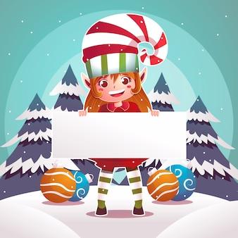 Weihnachtself, der unbelegte weihnachtsfahne anhält
