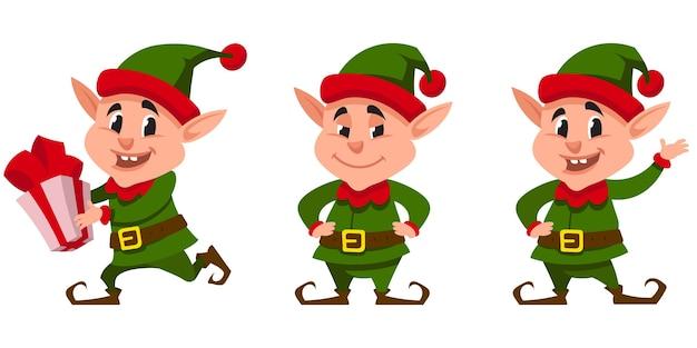 Weihnachtself in verschiedenen posen. fiktive figur im cartoon-stil.