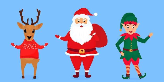 Weihnachtself, weihnachtsmann und hirsch-vektor-illustration.
