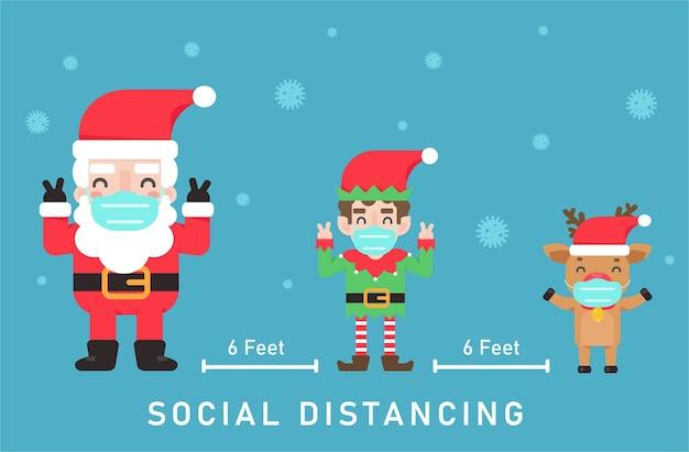 Weihnachtselfen und rentiere tragen masken. halten sie während der weihnachtszeit soziale distanz