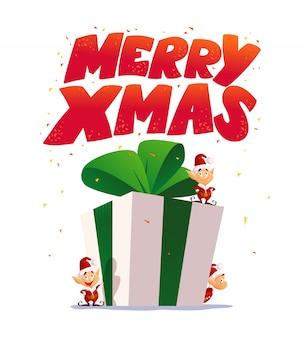 Weihnachtselfenporträt gesetzt. santa elf charakter. karikaturartillustration. frohes neues jahr, frohe weihnachten element. gut für glückwunschkarte, flayer, poster.