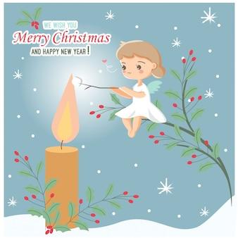 Weihnachtsengel, der eibisch auf kerzenflamme röstet