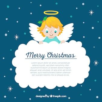 Weihnachtsengel, der eine große wolke hält