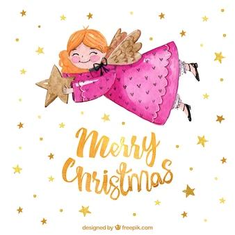 Weihnachtsengel, der einen goldenen stern hält