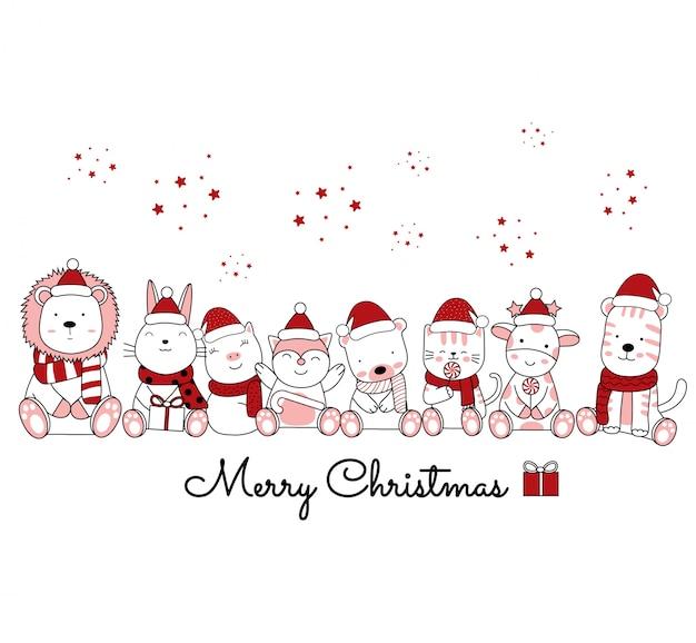 Weihnachtsentwurf mit dem niedlichen tier-cartoon im blumenrahmen. handgezeichnete cartoon-stil