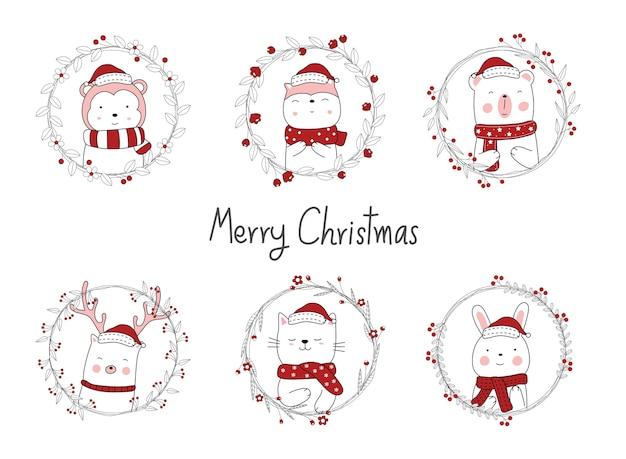 Weihnachtsentwurf mit niedlichem tierkarikatur. hand gezeichnete karikaturart