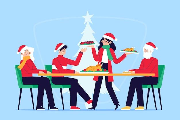 Weihnachtsessen szene illustration