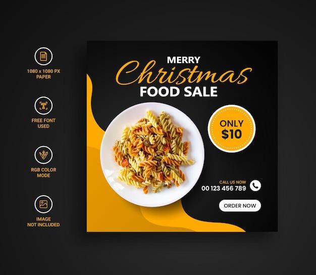 Weihnachtsessenmenü-social-media-instagram-post-banner-design-vorlage