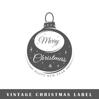 Weihnachtsetikett isoliert auf weißem hintergrund