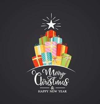 Weihnachtsetikett mit flachen geschenkboxen und feiertagsbeschriftung lokalisiert auf schwarzem hintergrund.