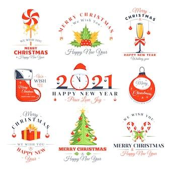 Weihnachtsetiketten gesetzt lokalisiert auf weißem hintergrund. plakate, briefmarken, banner und elemente.