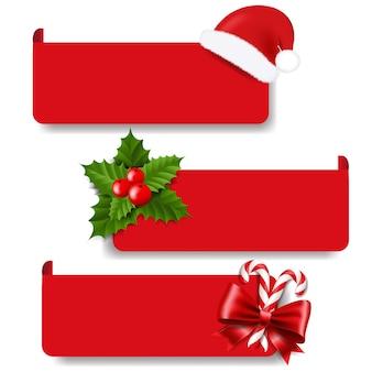 Weihnachtsetiketten mit holly berry set weißen hintergrund