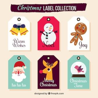 Weihnachtsetiketten mit lustigem stil
