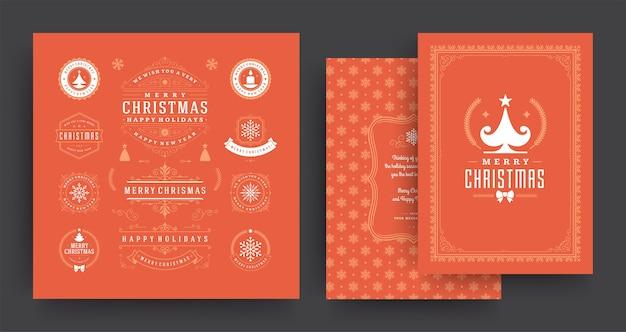 Weihnachtsetiketten und abzeichenvektor-gestaltungselemente, die mit grußkartenschablone gesetzt werden