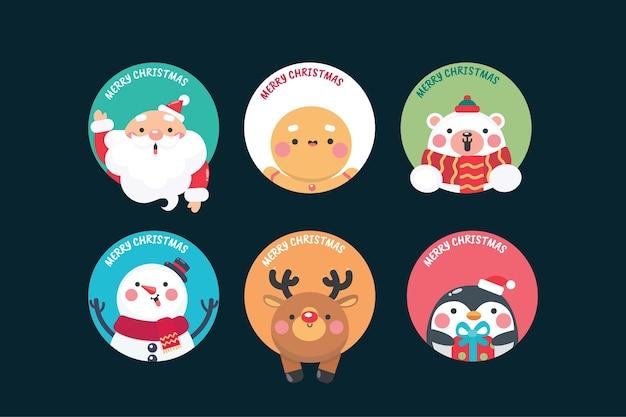 Weihnachtsetikettenkollektion im flachen design