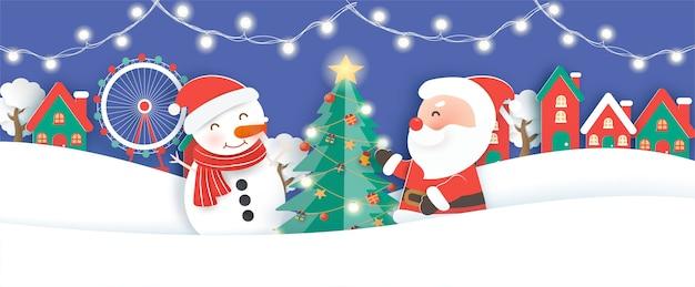 Weihnachtsfahne, hintergrund mit einem weihnachtsmann und freunden im schneedorf papierschnitt und bastelstil.