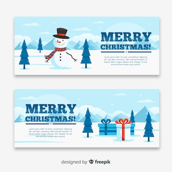 Weihnachtsfahne im flachen design