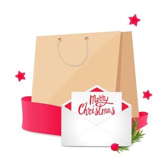 Weihnachtsfahne mit einkaufstasche und postkarte im umschlag. ferienverkauf