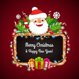 Weihnachtsfahne mit santa claus hinter der tafel