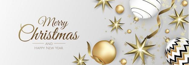 Weihnachtsfahne mit weihnachtsbällen, -schneeflocke und -konfettis