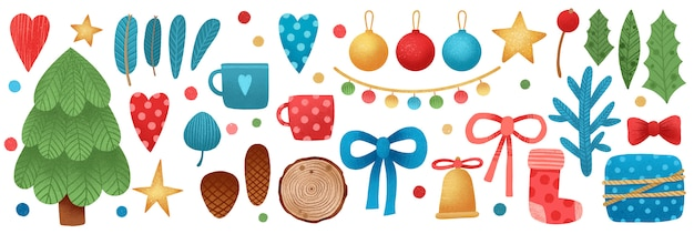 Weihnachtsfahne mit weihnachtsdekoration