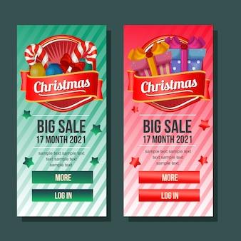 Weihnachtsfahne vertikale geschenkschachtel zuckerstange