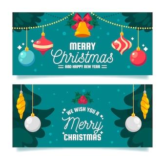 Weihnachtsfahnen im flachen design