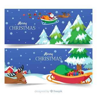 Weihnachtsfahnen in der flachen art