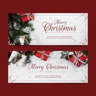 Weihnachtsfahnen mit geschenkboxen