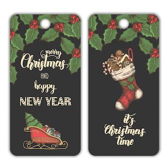 Weihnachtsfahnen mit mistelblättern