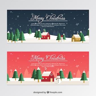 Weihnachtsfahnen mit schneemännern und schneeflocken in flachen stil