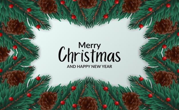 Weihnachtsfahnen-plakatschablone mit illustration der rahmentanne verlässt girlande mit kiefernkegel