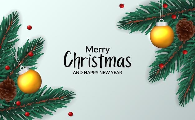Weihnachtsfahnen-plakatschablone mit illustration der tannenblattgirlande mit dekoration