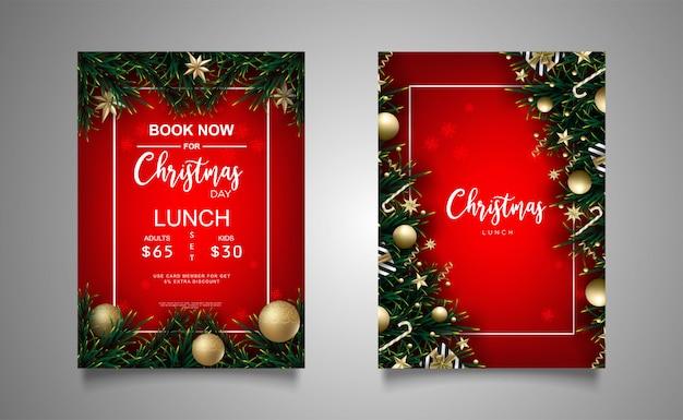 Weihnachtsfahnenmittagessenhintergrund mit realistischer dekoration
