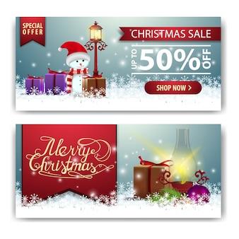 Weihnachtsfahnenschablone mit alter laterne und schneemann