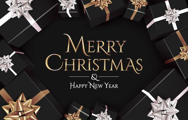 Weihnachtsfahnenschablone mit goldenem frohen weihnachtstext auf dunklem hintergrund
