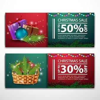 Weihnachtsfahnenschablonen mit geschenken und weihnachtskorb