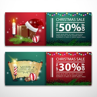 Weihnachtsfahnenschablonen mit pergament und geschenken