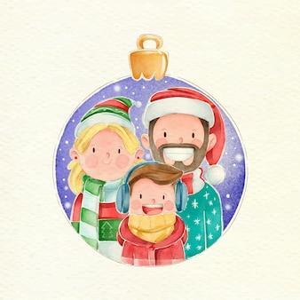 Weihnachtsfamilien-szenenkonzept im aquarell