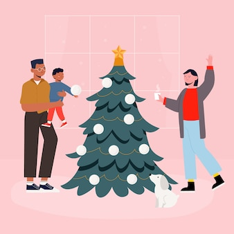 Weihnachtsfamilien-szenenkonzept in der hand gezeichnet