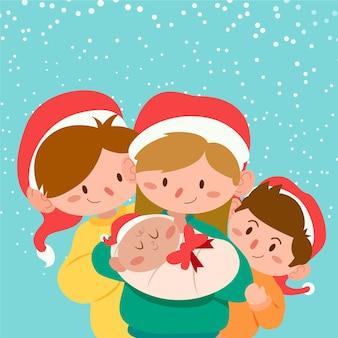 Weihnachtsfamilienszene im flachen design