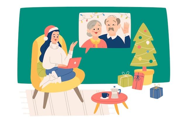 Weihnachtsfamilienvideocallillustration