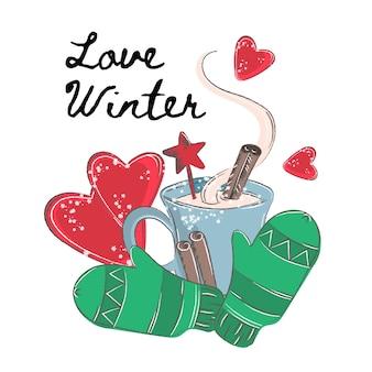 Weihnachtsfarbvektor-illustrations-satz liebe winter