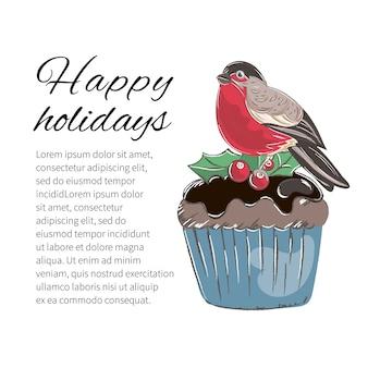 Weihnachtsfarbvektor-illustrations-satz winterkuchen