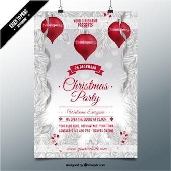 Weihnachtsfeier auf einem verschneiten hintergrund plakat