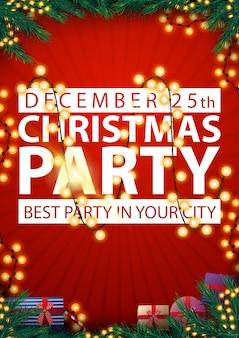 Weihnachtsfeier, beste party in ihrer stadt, mit rahmen aus weihnachtsbaumzweigen, girlanden und geschenken