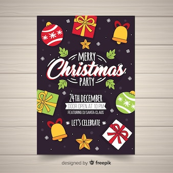 Weihnachtsfeier cartoon weihnachten elemente poster vorlage