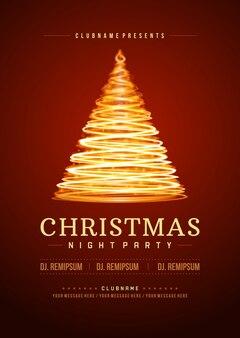 Weihnachtsfeier flyer einladung und licht baum